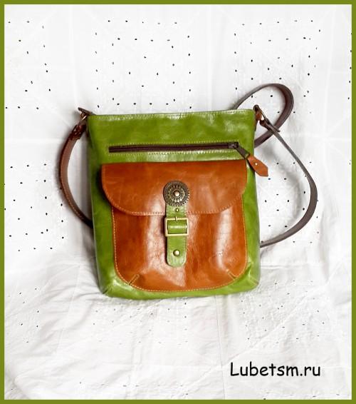 Сумка - Зелёная с коричневым